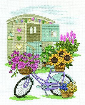 DMC Flowery Bicycle cross stitch kit